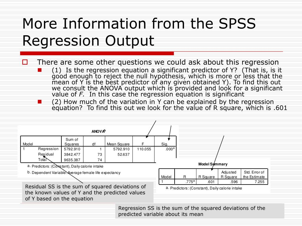 More Information from the SPSS Regression Output
