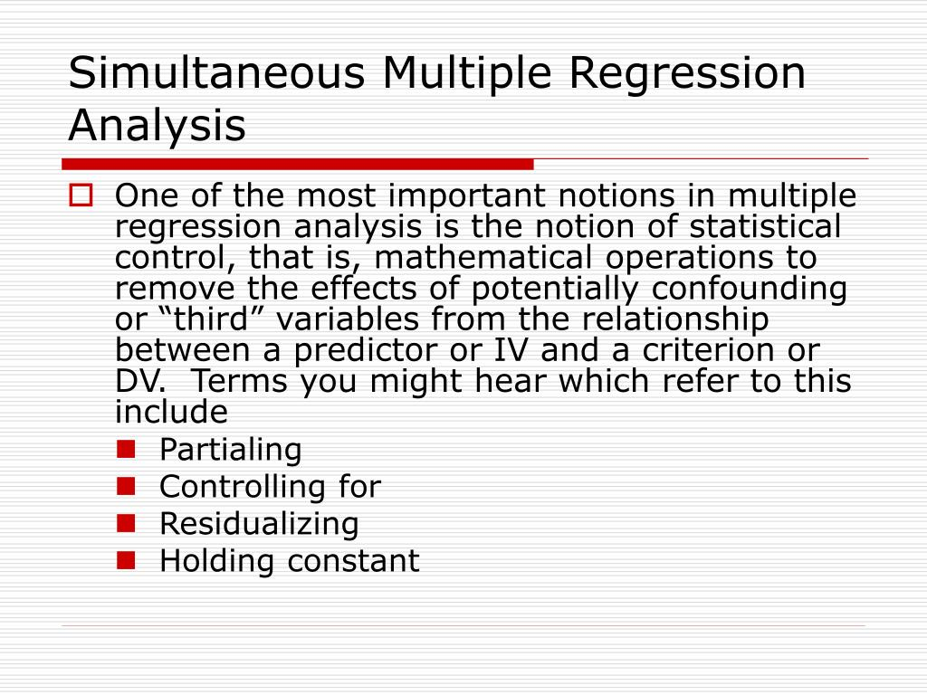 Simultaneous Multiple Regression Analysis
