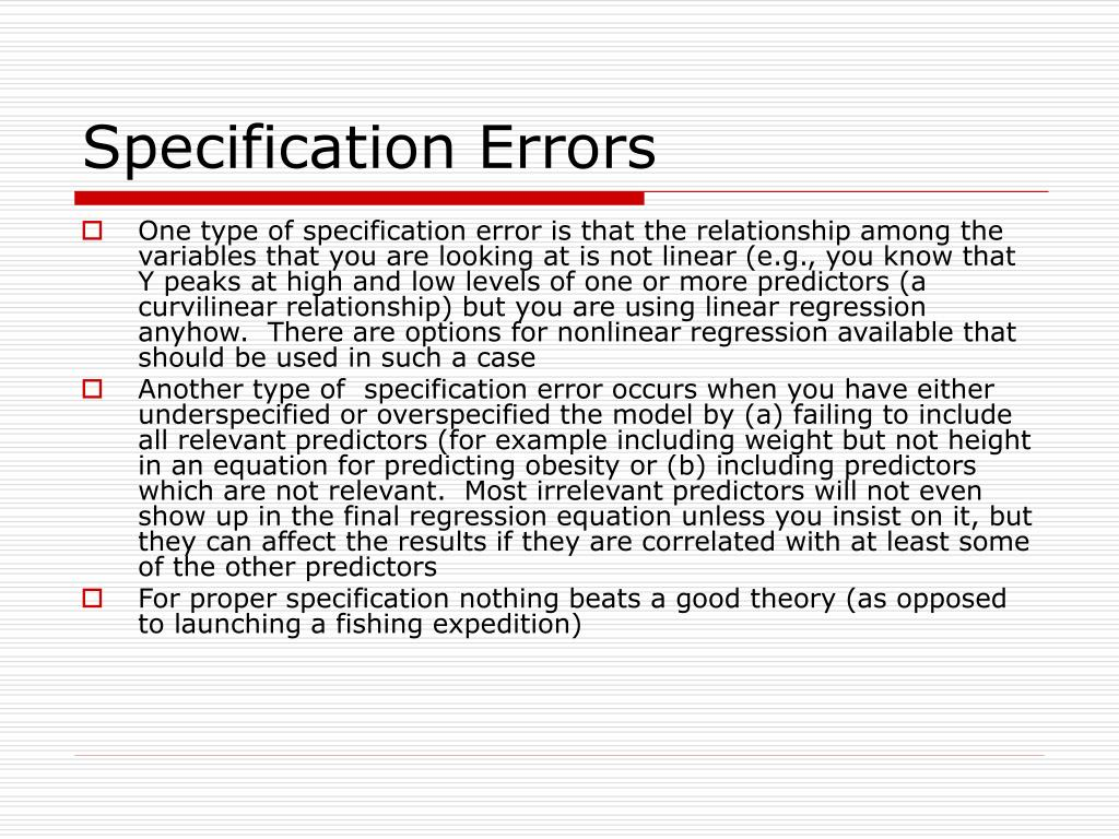 Specification Errors