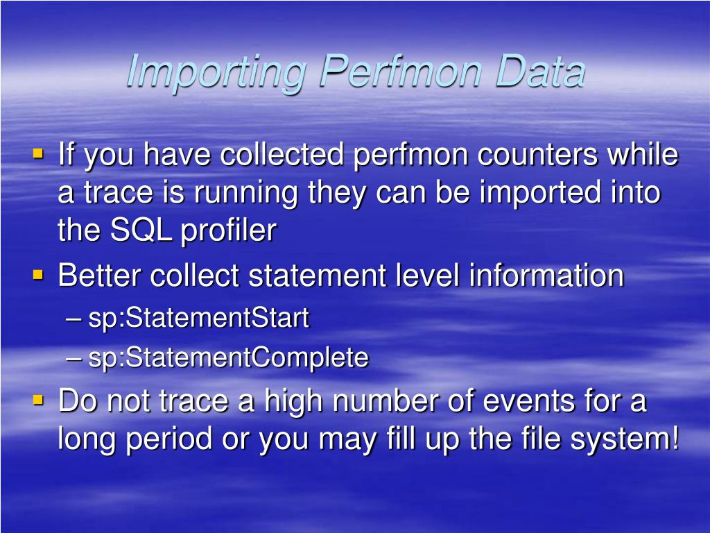 Importing Perfmon Data