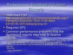 performance dashboard custom reports