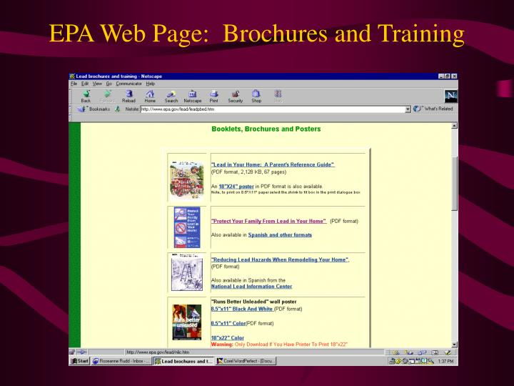 EPA Web Page:  Brochures and Training
