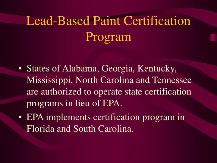 Lead-Based Paint Certification Program