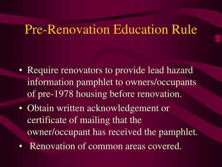 Pre-Renovation Education Rule