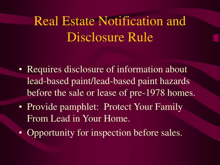 Real Estate Notification and Disclosure Rule