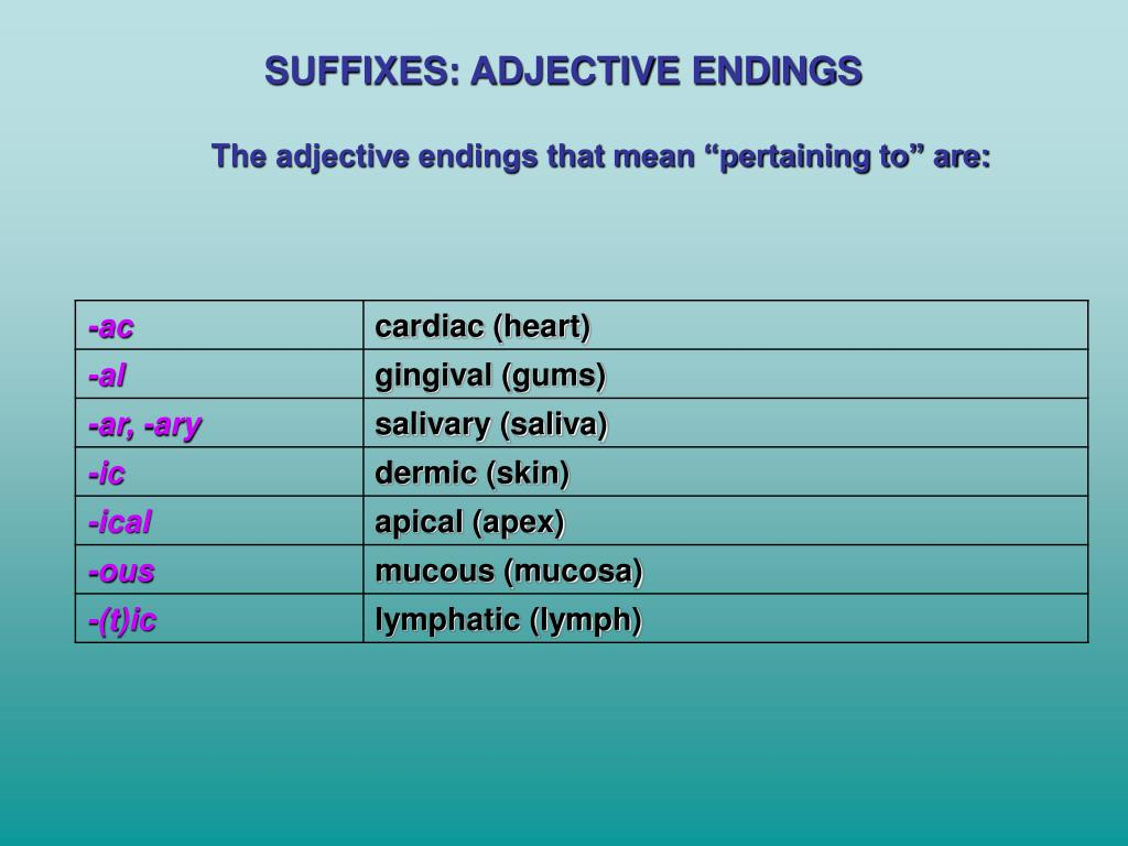 SUFFIXES: ADJECTIVE ENDINGS