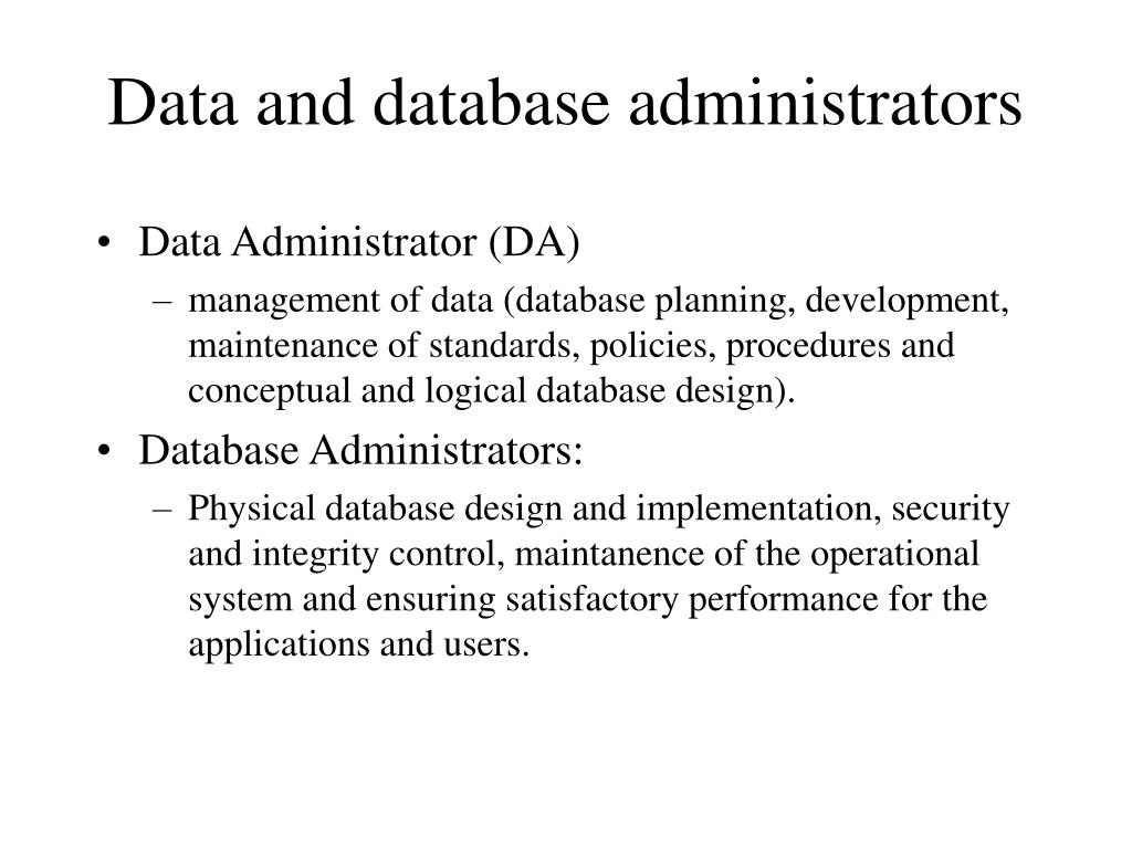 Data and database administrators