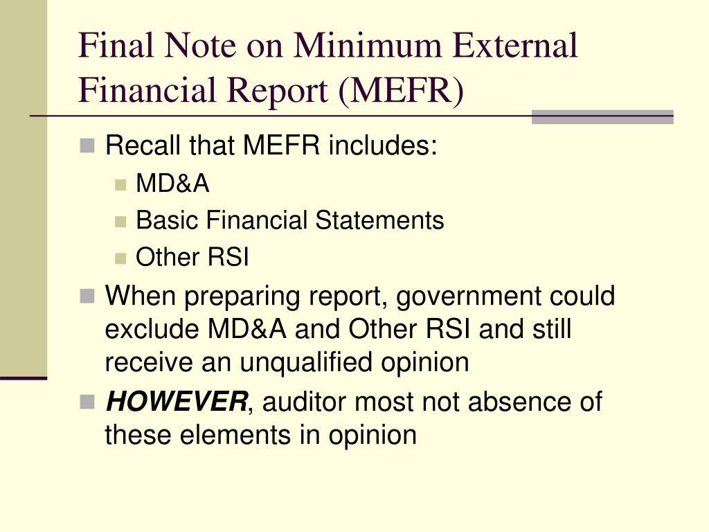Final Note on Minimum External Financial Report (MEFR)