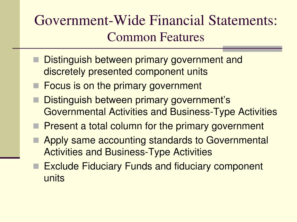 Government-Wide Financial Statements: