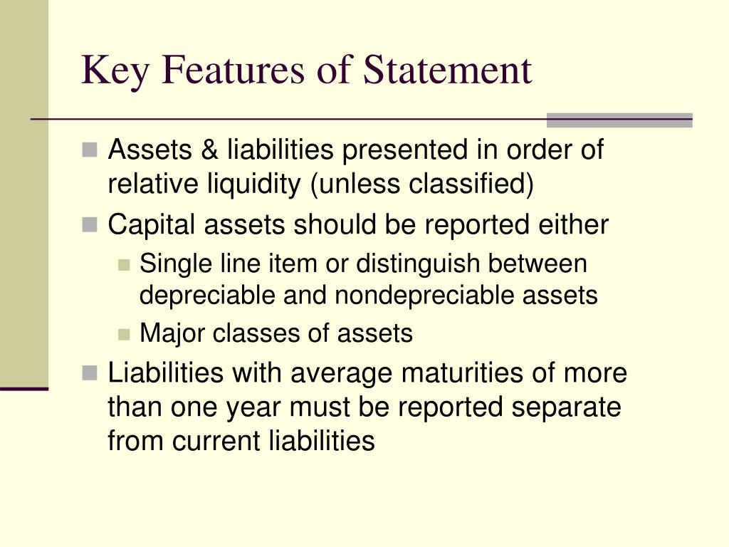 Key Features of Statement