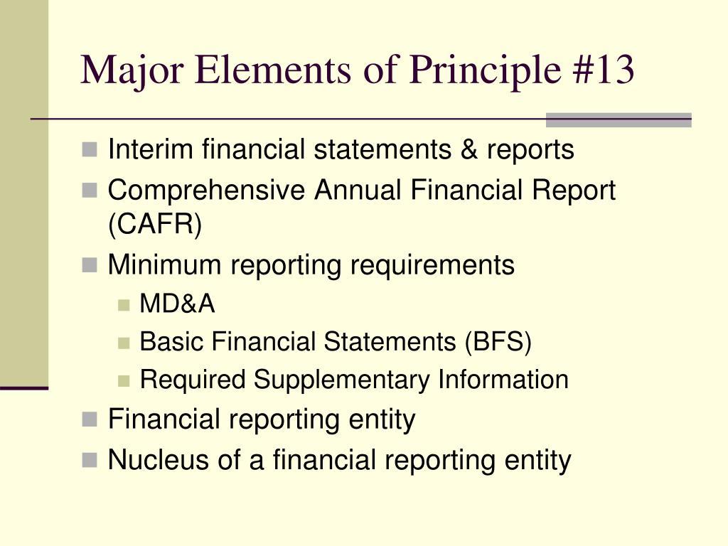 Major Elements of Principle #13