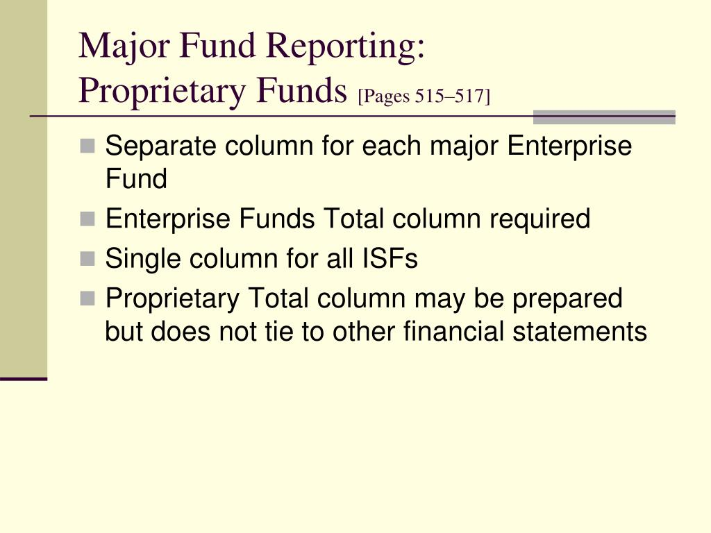 Major Fund Reporting: