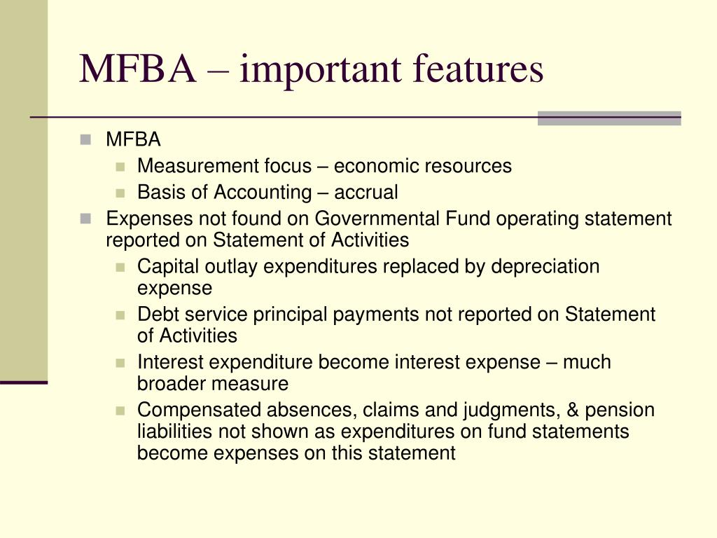 MFBA – important features
