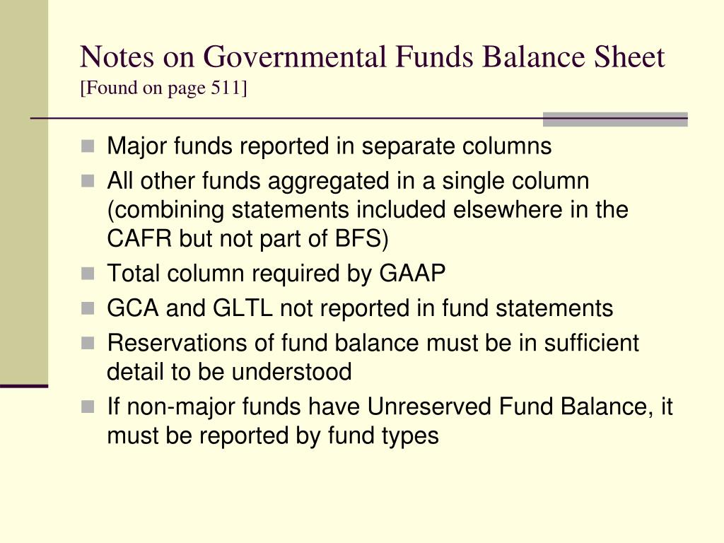 Notes on Governmental Funds Balance Sheet