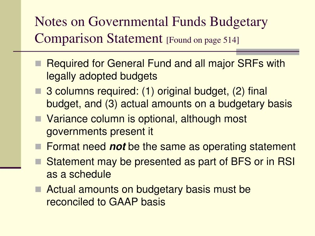 Notes on Governmental Funds Budgetary Comparison Statement