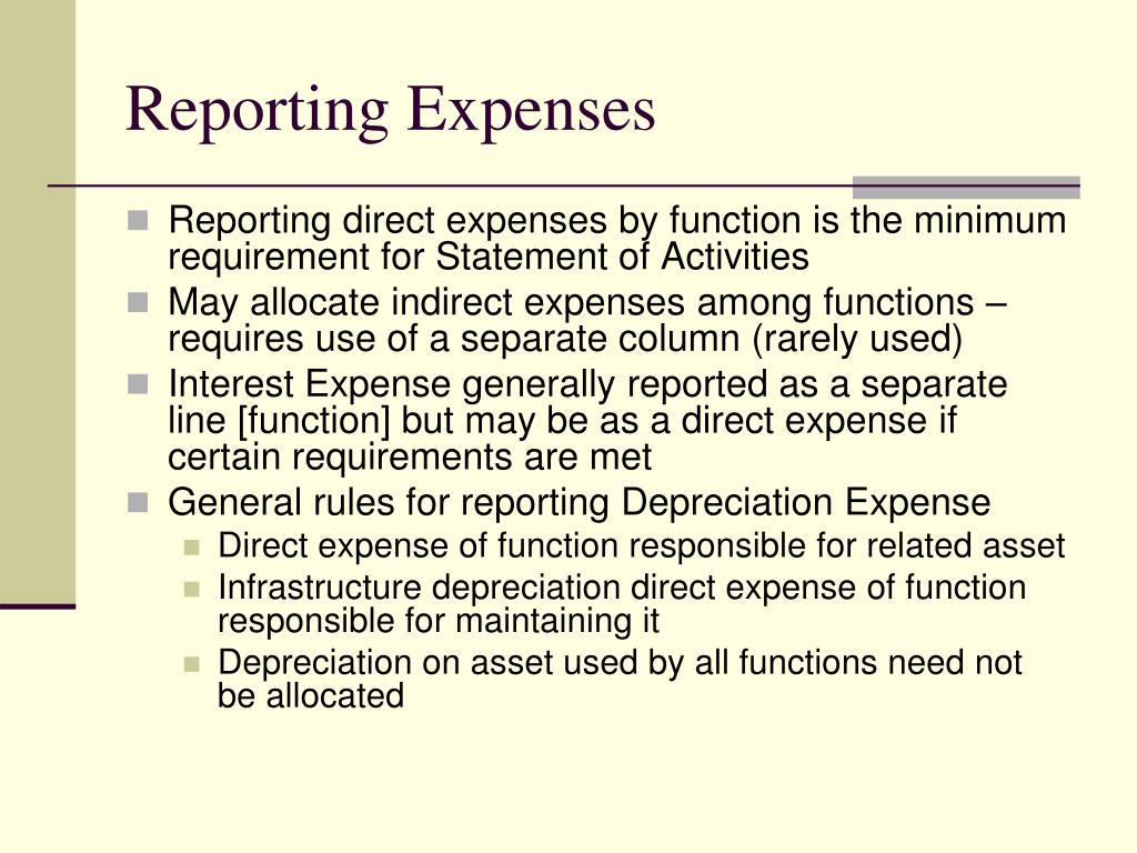 Reporting Expenses