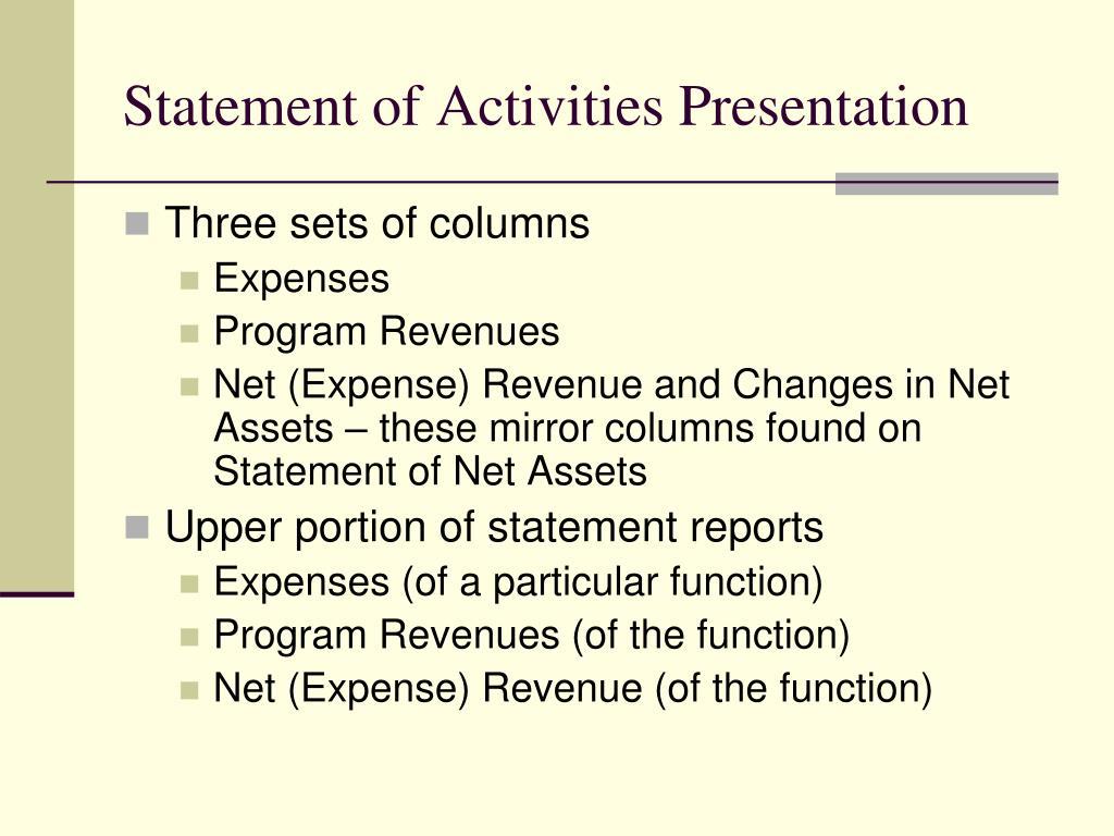 Statement of Activities Presentation