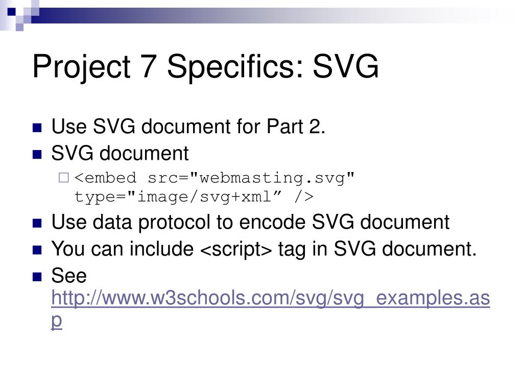 Project 7 Specifics: SVG