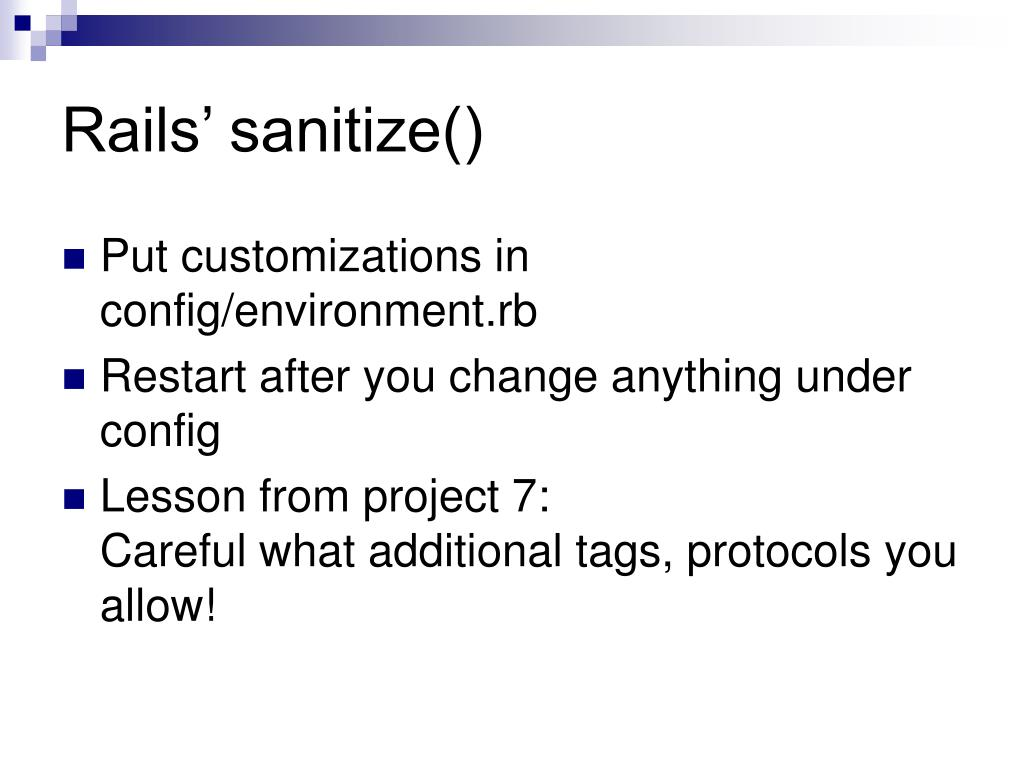Rails' sanitize()