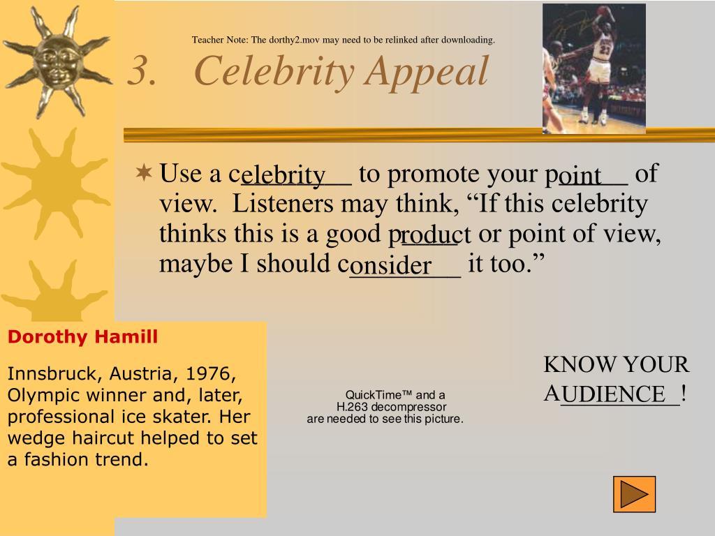 3.   Celebrity Appeal