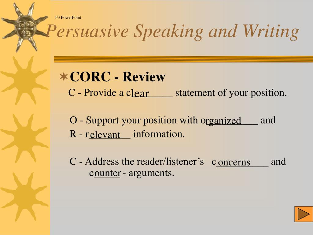 Persuasive Speaking and Writing