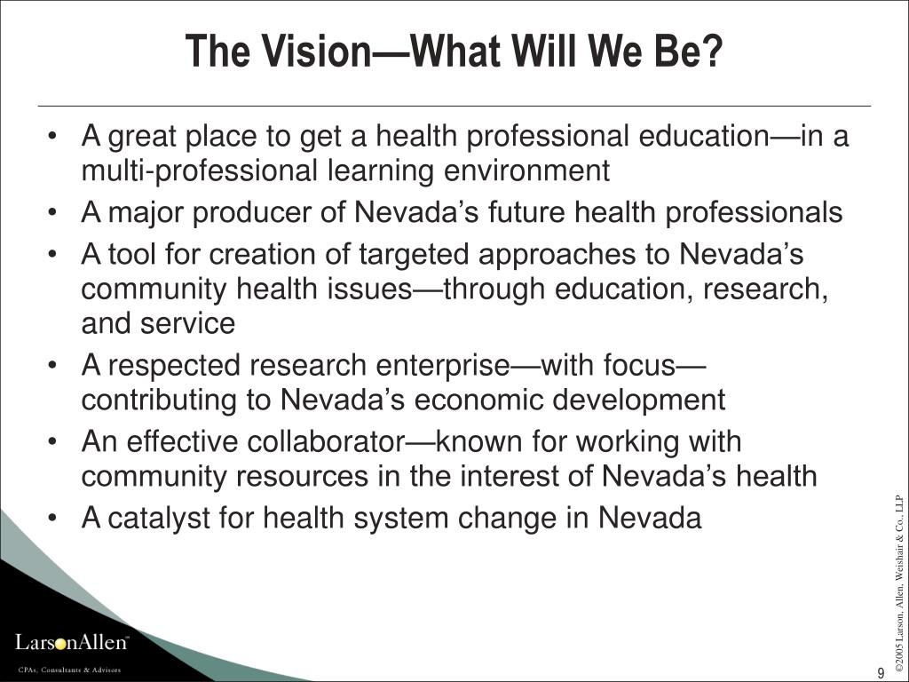 The Vision—What Will We Be?