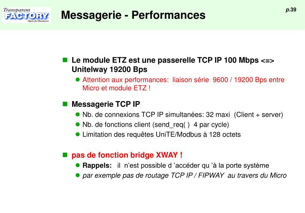 Messagerie - Performances