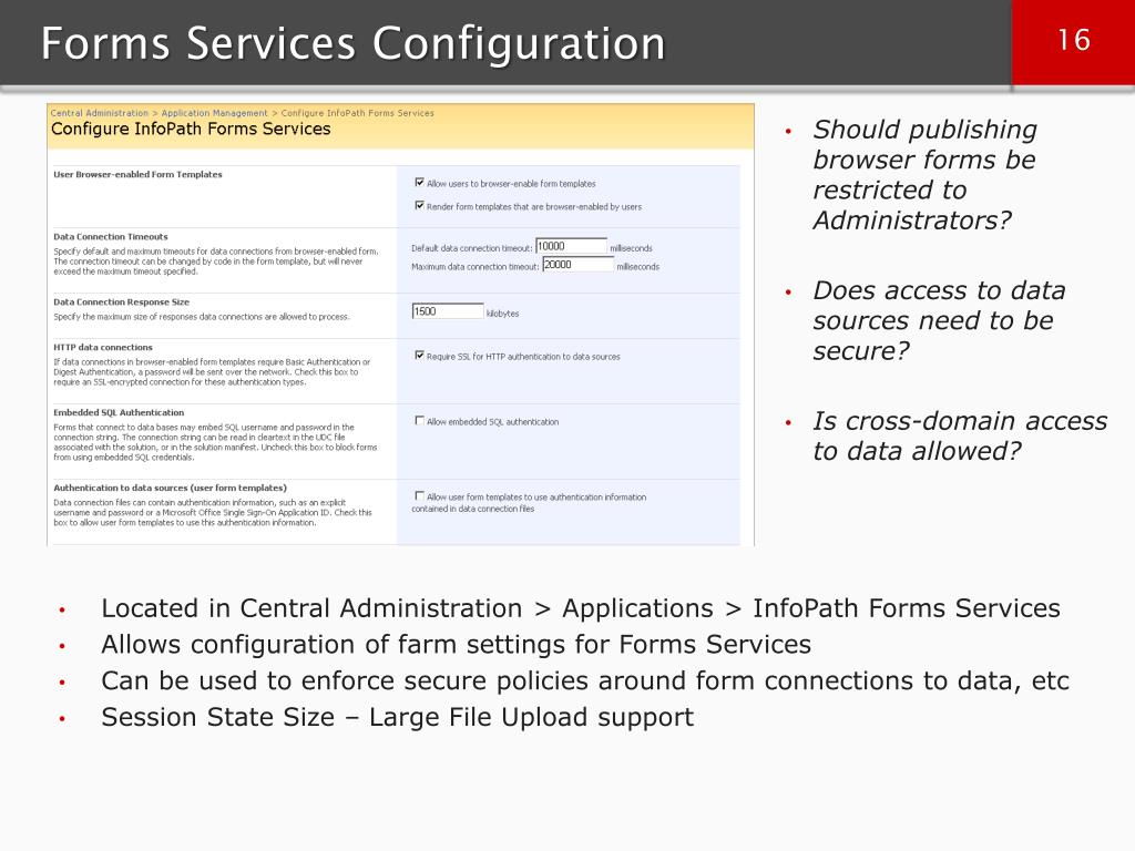Forms Services Configuration