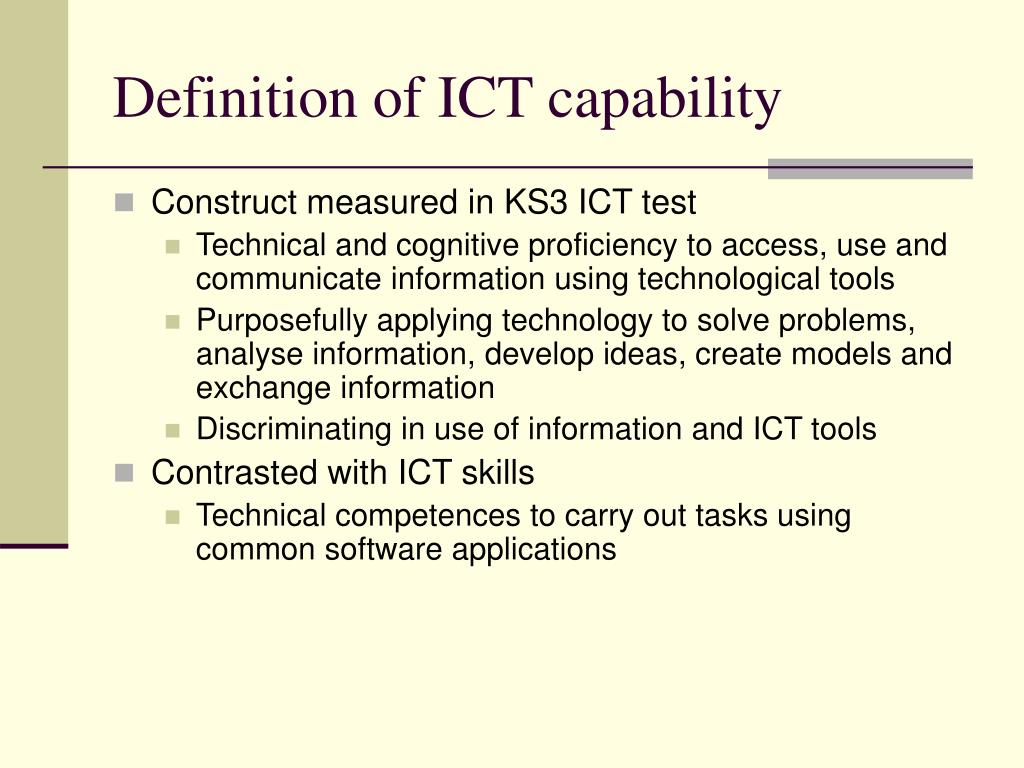 Definition of ICT capability