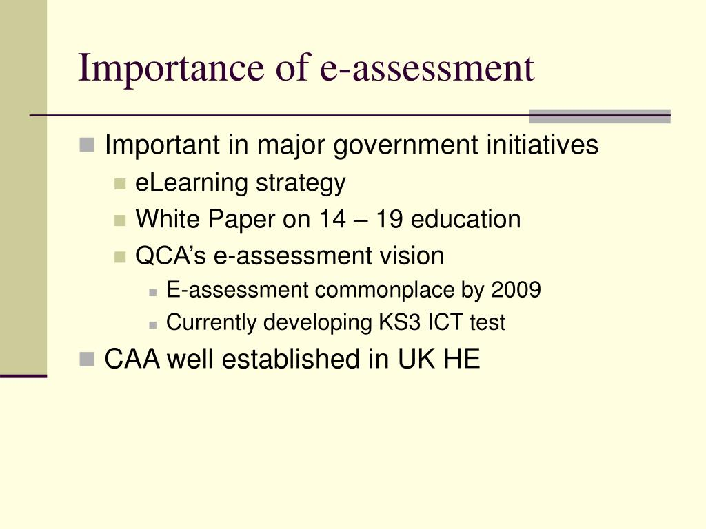 Importance of e-assessment