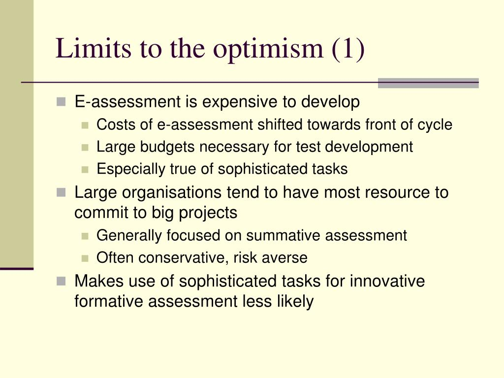 Limits to the optimism (1)