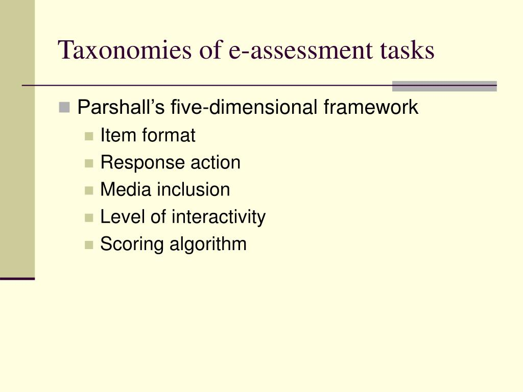 Taxonomies of e-assessment tasks