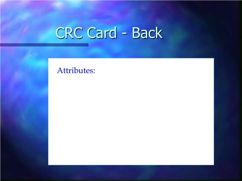 CRC Card - Back