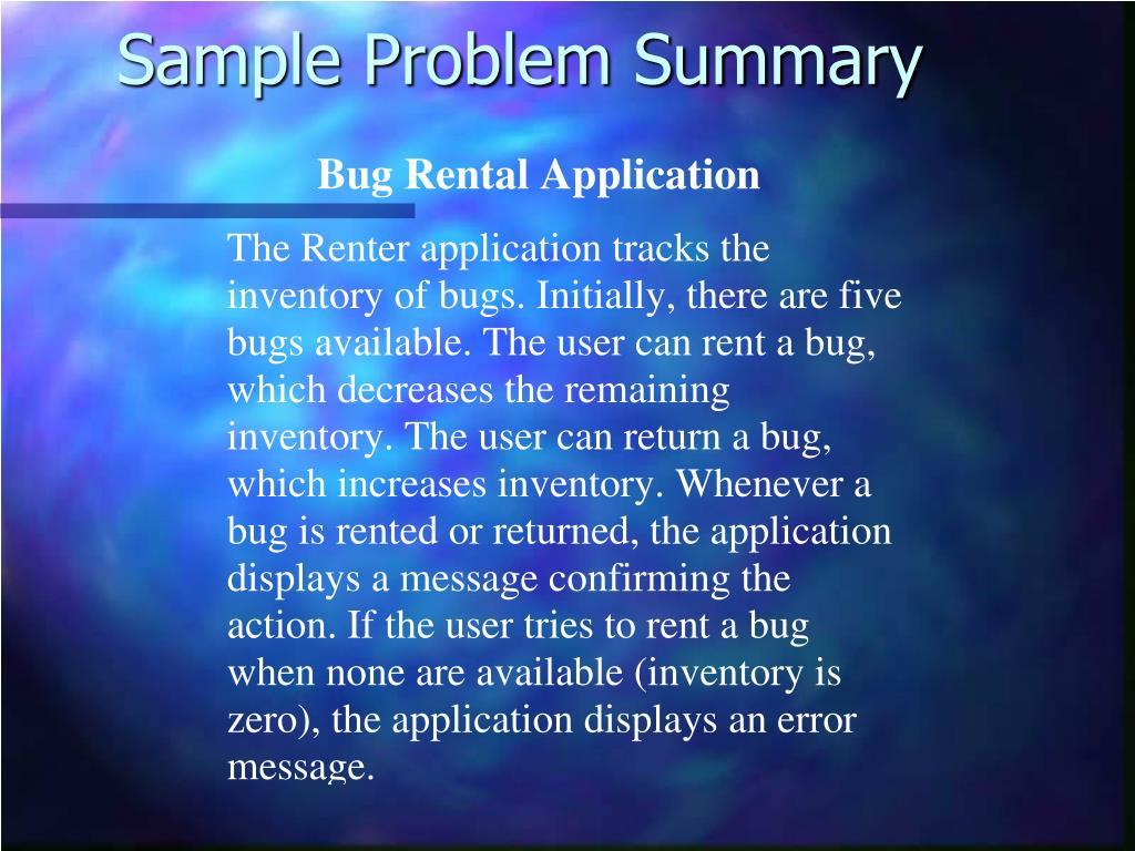 Sample Problem Summary