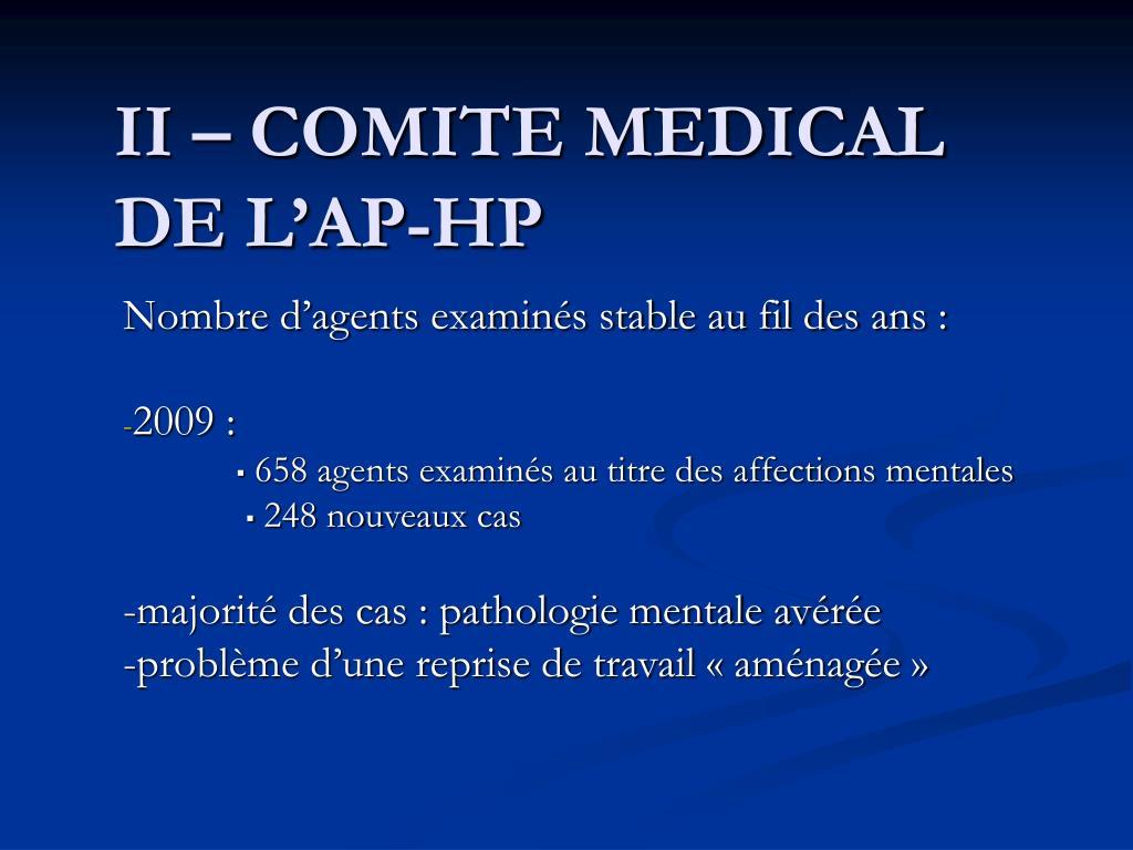 II – COMITE MEDICAL DE L'AP-HP
