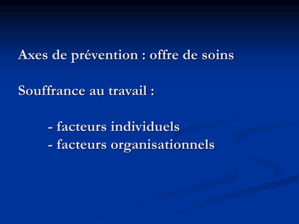 Axes de prévention : offre de soins