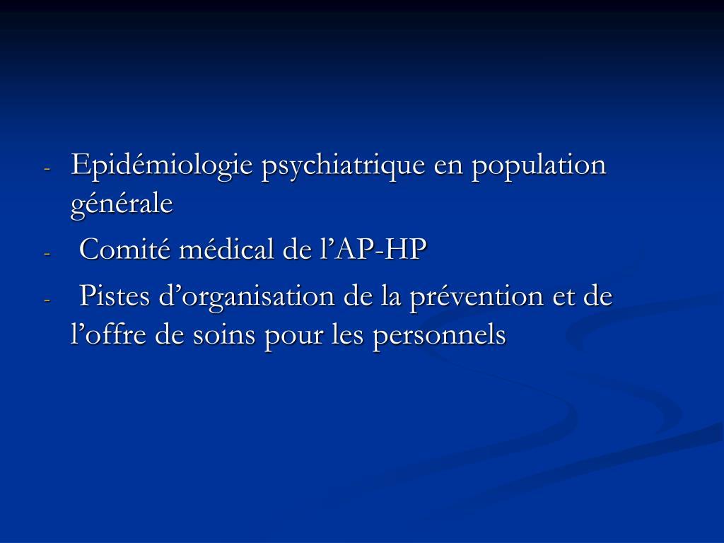 Epidémiologie psychiatrique en population générale