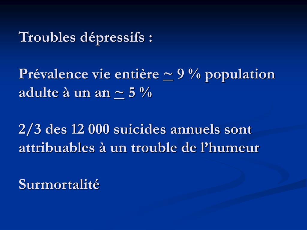 Troubles dépressifs :
