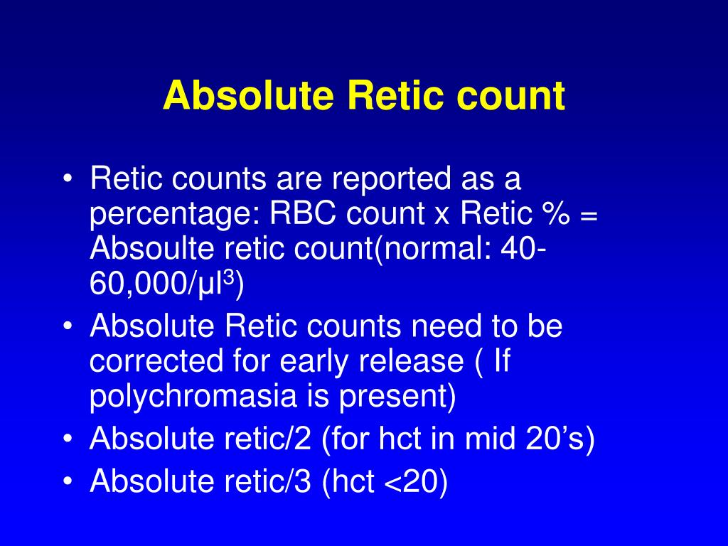 Absolute Retic count