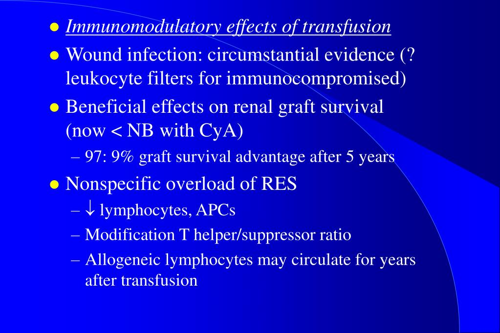 Immunomodulatory effects of transfusion