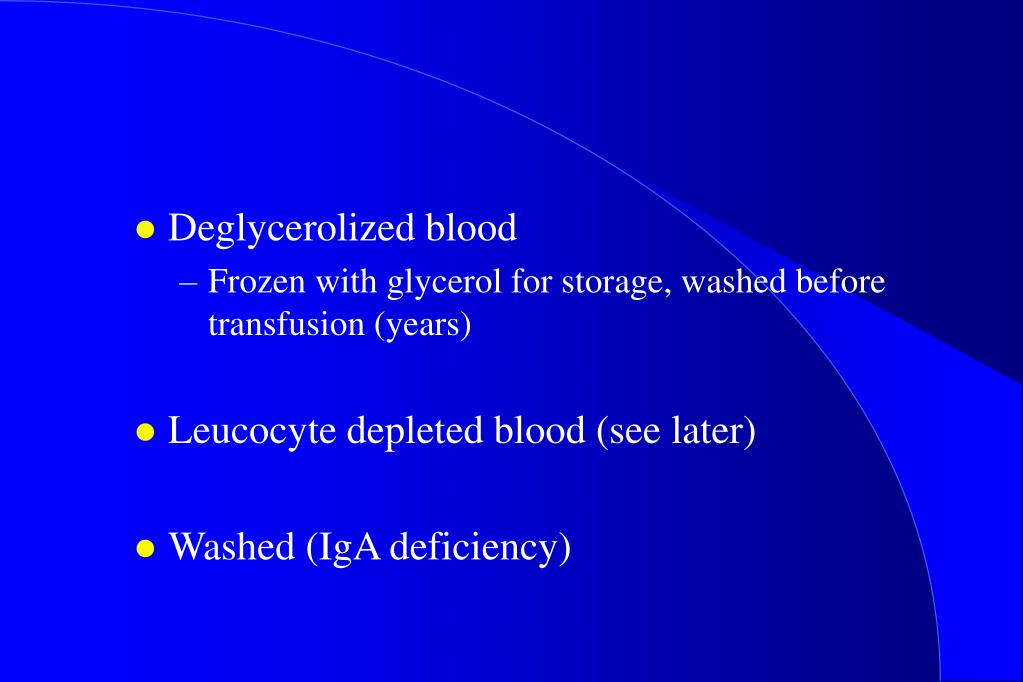 Deglycerolized blood