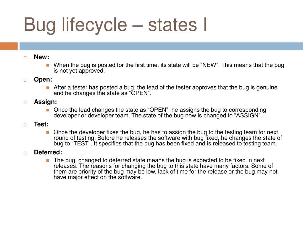 Bug lifecycle – states I