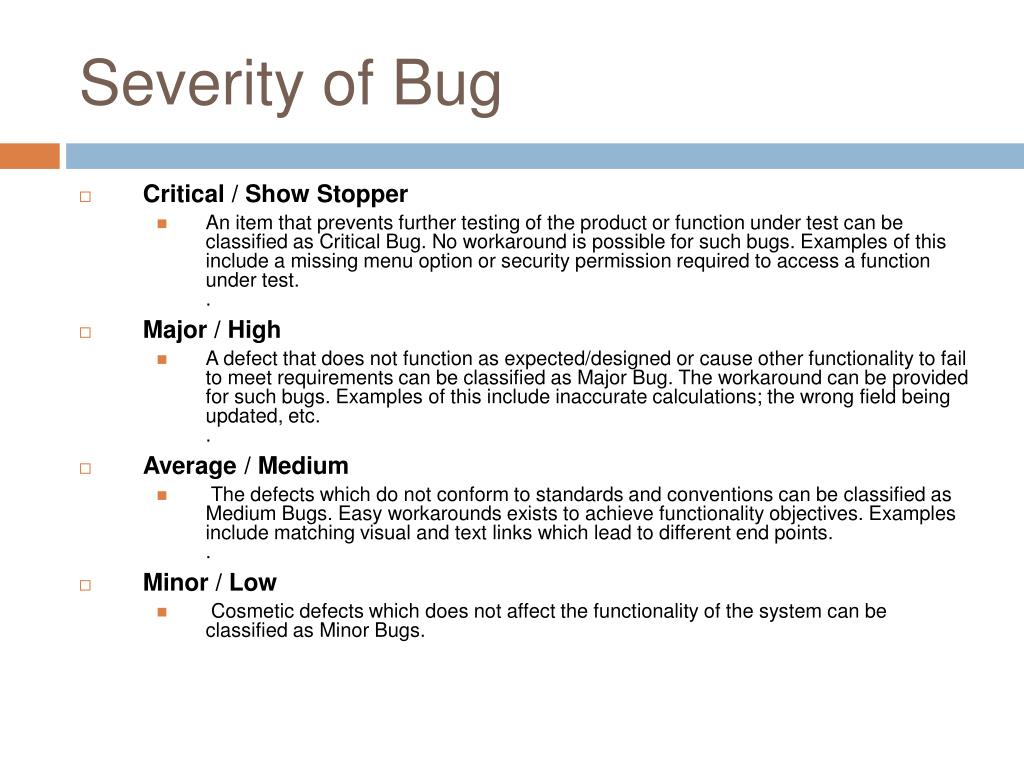 Severity of Bug