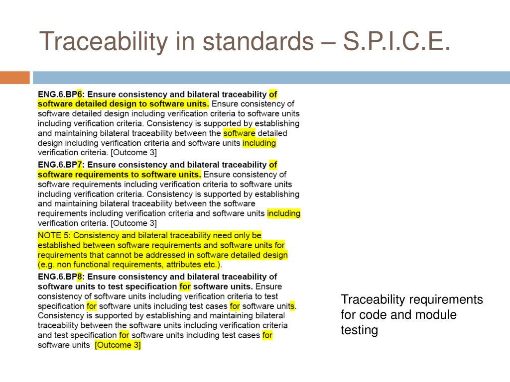Traceability in standards – S.P.I.C.E.