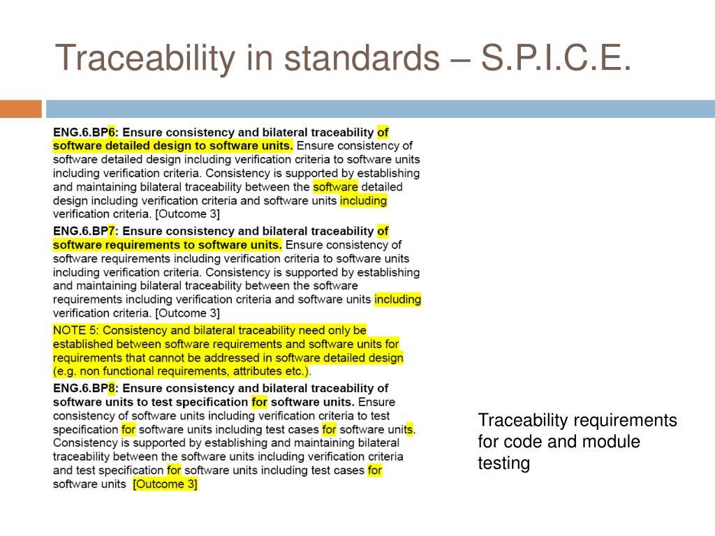 Traceability in standards – S.P.I.C.E.