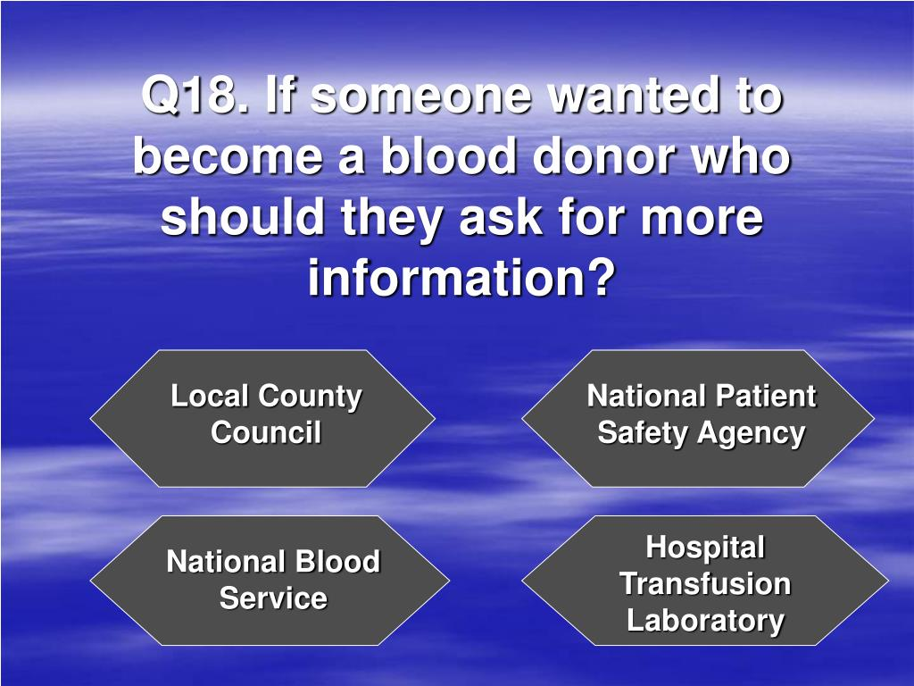 Q18. If someone wanted to become a blood donor who should they ask for more information?