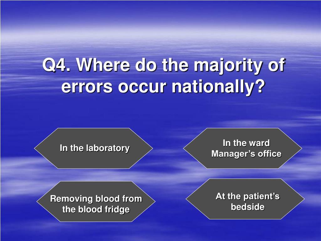 Q4. Where do the majority of errors occur nationally?