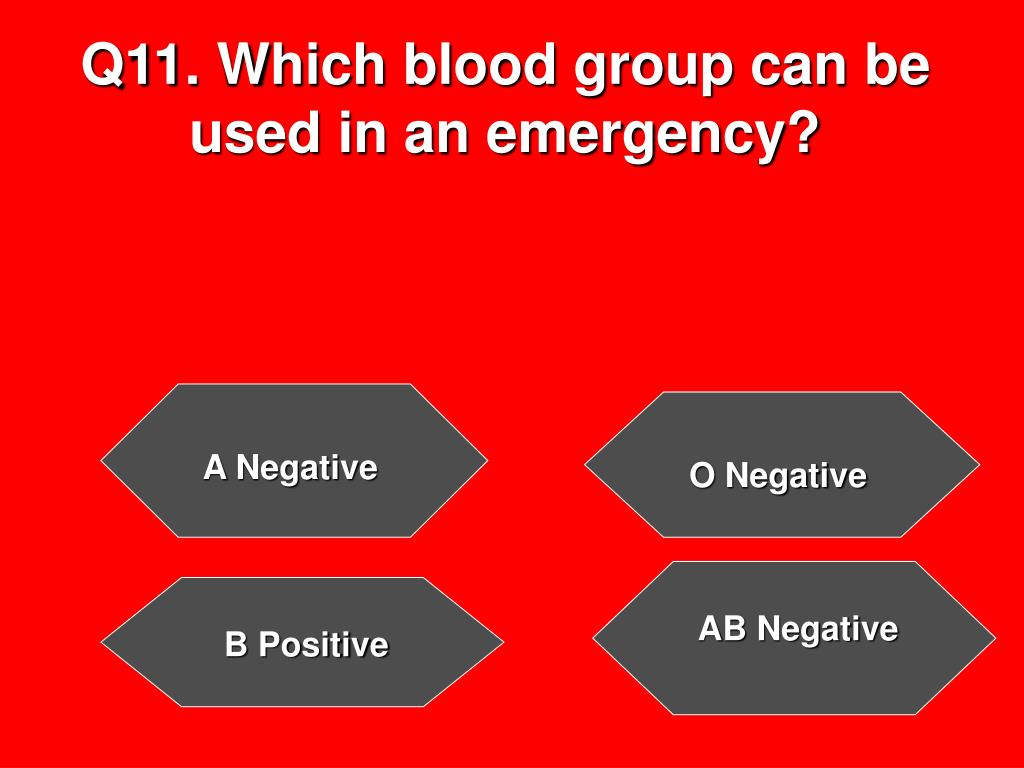 Q11. Which blood group can be used in an emergency?