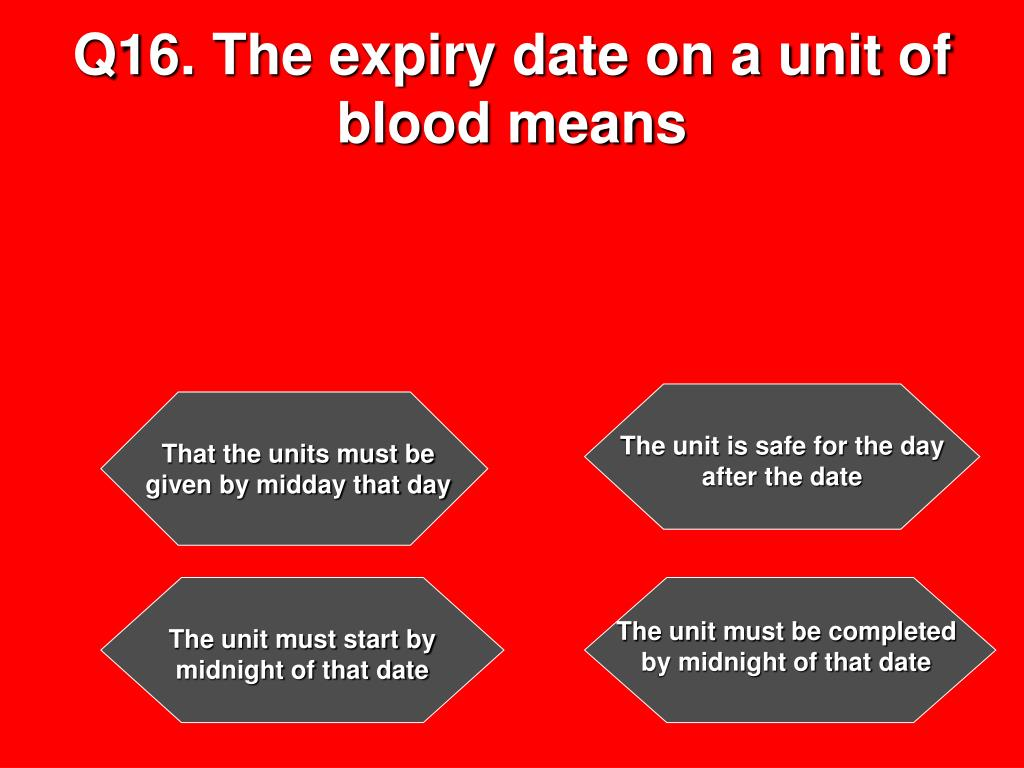 Q16. The expiry date on a unit of