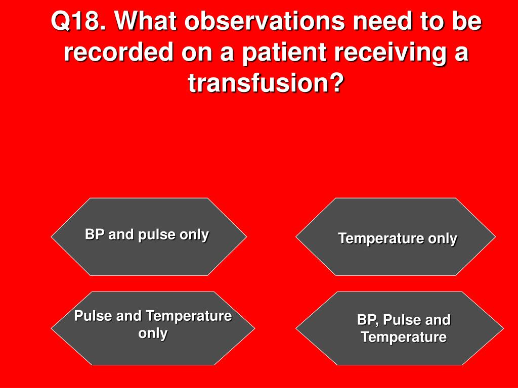 Q18. What observations need to be recorded on a patient receiving a transfusion?